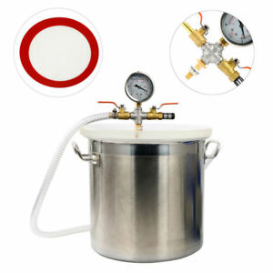 5 Gallon Stainless Steel Vacuum Degassing Chamber Resin Silicone Epoxy Extract U