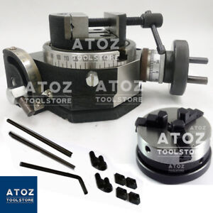 3 Slots Rotary Table 4 100mm Tilting 80mm Round Vice 65 Lathe Chuck Atoz