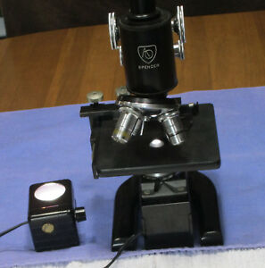 Vintage Ao Spencer 3 Objective Microscope W wood Case Two Lights Works Nice