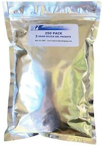 250 Pack Of 2 Gram Silica Gel Rechargeable Tyvek Desiccant Packets And Food And