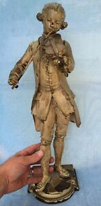 Old Marcel Debut Signed Bronze Statue Mozart Playing Violin Fiddle 19 5 Inches