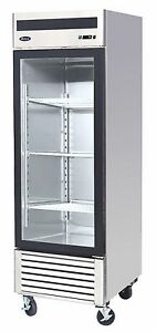 Atosa Stainless Steel 27 inch Glass Single Door Merchandiser Upright Freezer