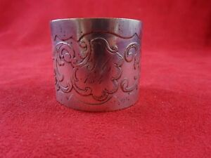 Fancy Vintage Silverplated Napkin Ring W Detailed Design 4688