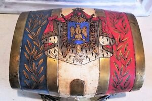 Antique Mottahedeh Italy Hand Painted Tole Brass Armorial Eagle Box Chest 10