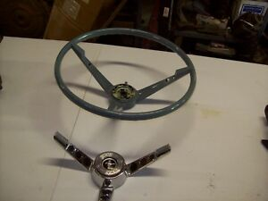 1965 1966 Ford Mustang Reproduction Blue Steering Wheel With Horn Ring