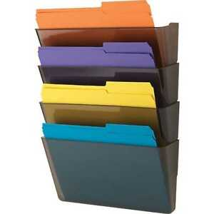 Staples Single Wall File Organizer Stackable Letter Size Smoke Set Of 6