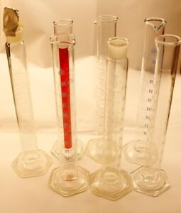 Lot Of 7 100ml Corning Pyrex Exax Kimax Metric Scale Glass Graduated Cylinder