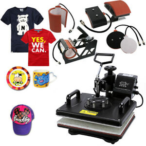5 In 1 Digital Heat Press Machine Sublimation T shirt Hat Printer 15 x12 Sy