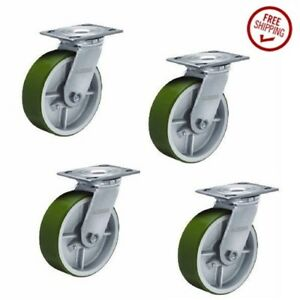 Set Of 4 Albion Swivel Plate Casters And 8 X 2 Polyurethane On Steel Wheels