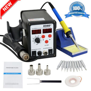 Latest 2in1 Smd Soldering Rework Station Hot Air Iron 898d 11tips Esd Plcc Mx
