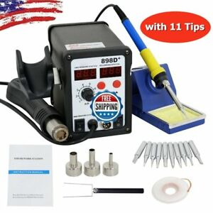 898d 2 in 1 Electric Smd Desolder Soldering Station Hot Air Gun With 11 Tips Mx