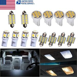 14pcs Bright White Led Interior Package Kit T10 31mm Dome Map License Lights Us