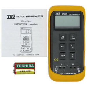 Tes K Type Dual Digital Industrial Thermocouple Thermometer Tes 1303