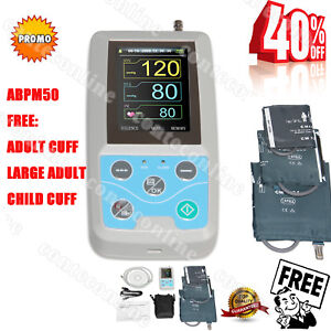 24hours Nibp Holter Ambulatory Blood Pressure Monitor Pc Software Abpm50 3cuffs