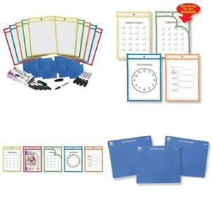 Charles Leonard Reusable Clear Dry Erase Pockets Class Combo Pack Includes 10