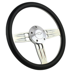 14 Inch Polished Steering Wheel Chevy Bowtie Horn 6 Hole Black Grip Gmc Dodge