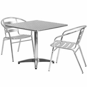 31 5 Square Aluminum Indoor outdoor Table With 2 Slat Back Chairs