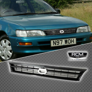 Fit For Toyota Corolla 93 97 Front Grill Black Grille Crown Logo Jdm Style