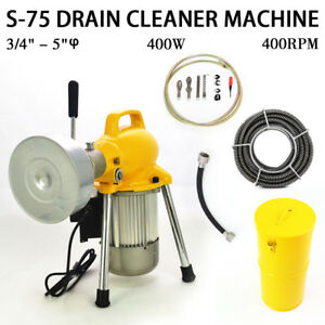 3 4 5 Sectional Pipe Drain Auger Cleaner Machine Snake Sewer Clog W Cutter