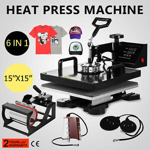 15x15 T shirt Heat Press Transfer 6in1 Combo Cap Mug Plate 1100w Swing Away Ce