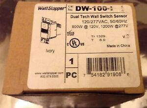 Watt Stopper Dw 100 i Dual Tech Wall Switch Sensor Ivory New In Box 120 277 Volt