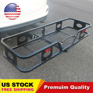 Folding Cargo Carrier Luggage Rack Trailer Hitch Receiver Mounted Truck Suv Car