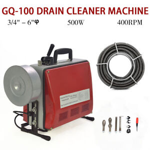 Electric 3 4 6 Spiral Pipe Drain Cleaner Cleaning Machine Commercial Sewage