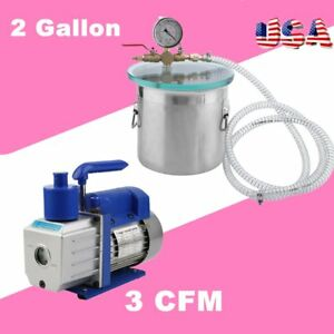 2 Gallon Vacuum Chamber And 3cfm Single Stage Pump Degassing Silicone Kit Ma