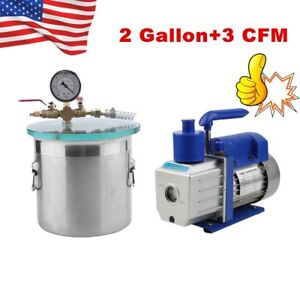 2 Gallon Stainless Steel Degassing Vacuum Chamber With 3cfm Vacuum Pump Usa Ma