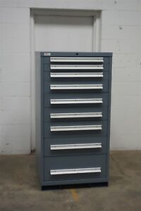 Used Lyon 9 Drawer Cabinet Industrial Tool Parts Storage 1482 Vidmar