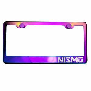 Polish Neo Neon Chrome License Plate Frame Nismo Laser Etched Metal Screw Cap