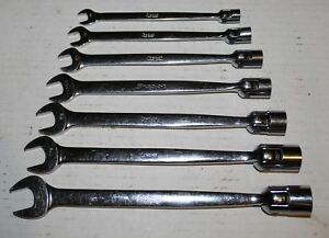 Snap On Flex Head Open End Combination Wrench Set Sae 3 8 3 4 7pc 12 Point