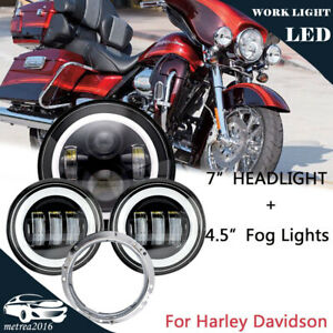7inch Motorcycle Led Projector Headlight 4 5 Passing Lights For Harley