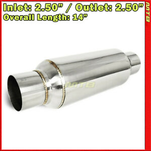 10 Inch Resonator Muffler Glass Pack 2 5 Inches In out Stainless Steel Universal