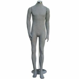 Mn 405 Grey Soft Flexible Bendable Headless Male Body Mannequin Form