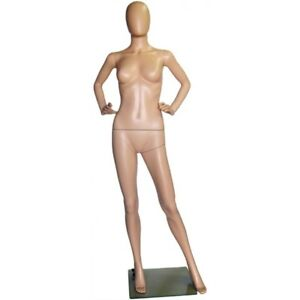 Mn 243 Fleshtone Plastic Ladies Full Size Egghead Mannequin With Removable Head