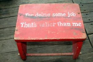 Primitive Childs Red Plant Stand Foot Stool Wood For Doing Some Job Bigger Me