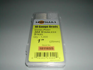 18 Gauge 1 Stainless Steel Brad Nails 8 000 spotnails 18116ss Finish Nails