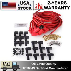 Universal Ignition Spark Plug Wire Set 90 Degree To Straight Sbc Bbc Hei 8 Cyl
