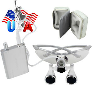 Usa Dental Loupes 2 5 3 5 x420mm Surgical Binocular led Head Light Lamp case