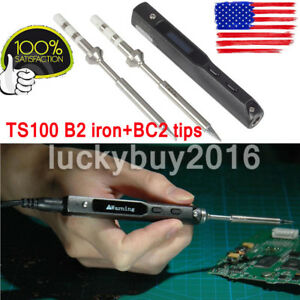 Ts100 Digital Oled Programable Interface Dc5525 Soldering Iron B2 Bc2 Two Tips