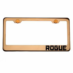 Rose Gold License Plate Frame Rogue Laser Engraved Aluminum Screw Cap