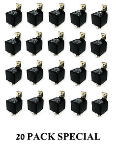 20 Pack Solenoid 12v 5 Pin Spdt 30 40 Amp Automotive Relay Socket Auto Electric