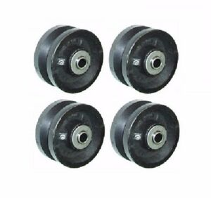 Set Of 4 4 X 1 1 2 Cast Iron V groove Wheel 3 4 1 2 Axle Id
