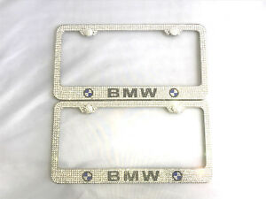 2x Genuine Crystal Metal Bling License Plate Frame Ice Out Caps Cover For Bmw