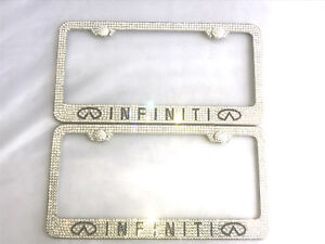 2x Genuine Crystal Metal Bling License Plate Frame Ice Out Caps Cover Infiniti