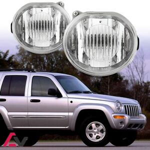 02 04 For Jeep Liberty Clear Lens Pair Bumper Fog Light Lamp Oe Replacement Dot