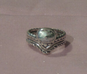 Oxidized Sterling Silver Ornate Ancient Roman Glass Ring Size 6