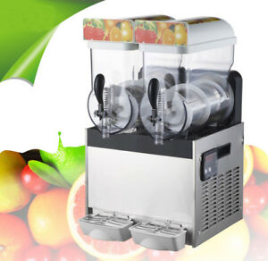 2 Tank Slush Puppie Machine Commercial Smoothie Maker Frozen Drink 110v New