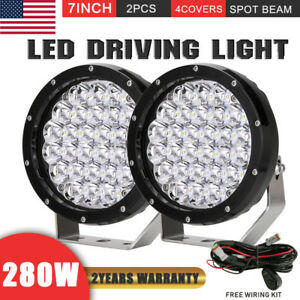 7inch Pair 280w Cree Led Round Driving Light Spot Offroad 4wd Truck Lamp 12v 24v
